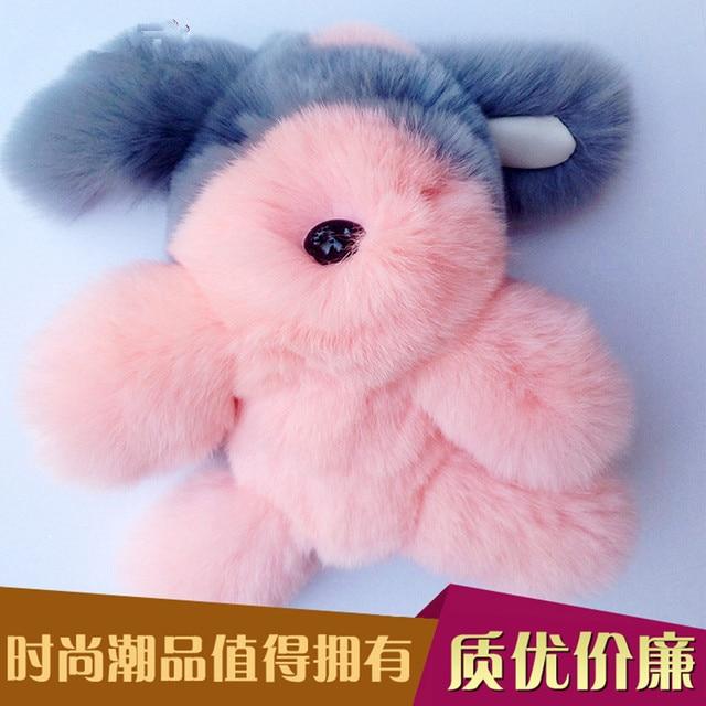 trinket rabbite fur pompom keychain bunny keychains on bag rabbit fur Keychain fur pom pom charms  for bags  anime