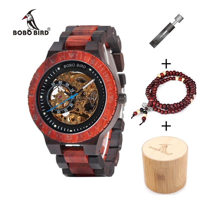 BOBO BIRD Wooden Mechanical Watch Reloj masculino Mens Watches Top Brand Luxury Timepieces With Bead Bracelet