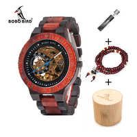 BOBO UCCELLO di Legno Orologio Meccanico Reloj masculino Mens Orologi Top Brand di Lusso Orologi Con Braccialetto di Perline Orologio da uomo