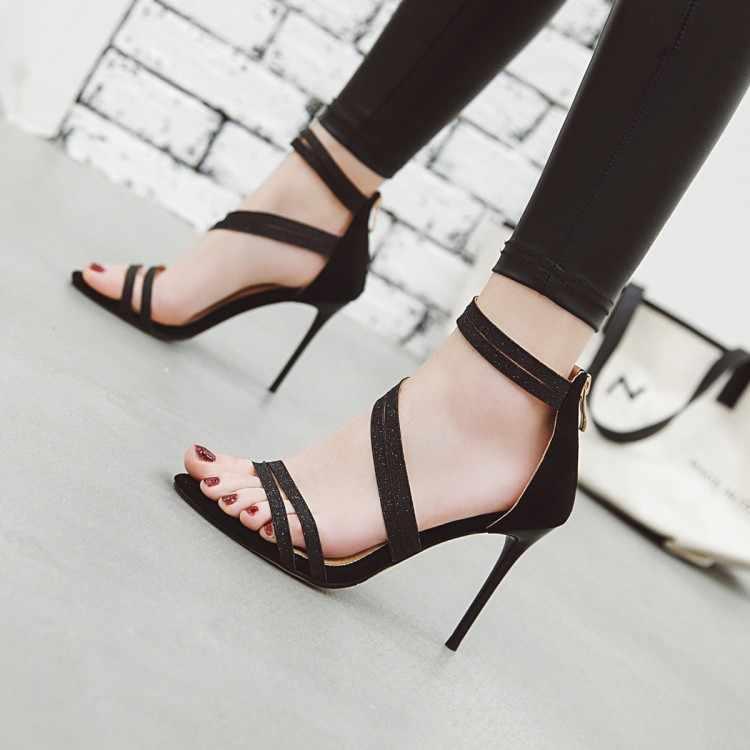Große Größe high heels sandalen frauen schuhe frau sommer damen Schlanke schuhe mit hohen absätzen mit einem-seitige saiten
