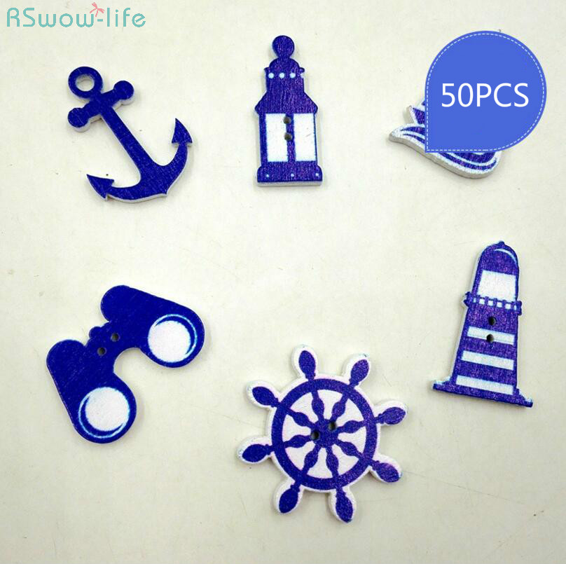 150pcs Ocean Blue Navy Series Wooden Eco Buttons Two Hole Creative DIY Crafts Clothing Sewing Accessories