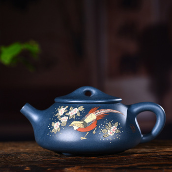 Teapot Quality Goods Famous Full Manual Raw Ore Blackish Green Clay-painted Stone Ladle Pot Kungfu Online Teapot Tea Set Suit