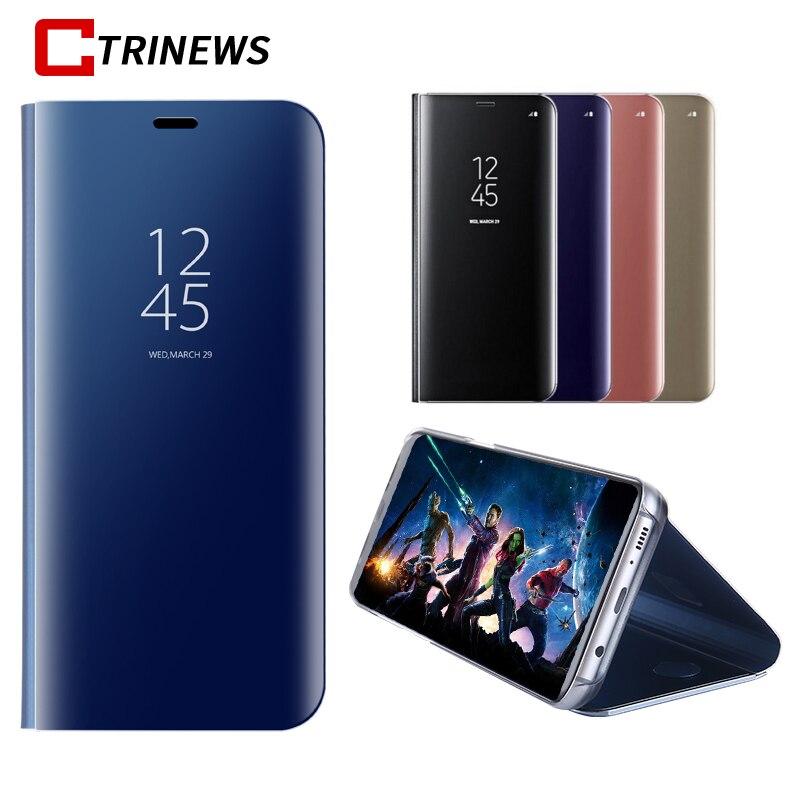 CTRINEWS Placcatura Caso Dello Specchio Per Samsung Galaxy S9 S9 Più S8 S7 bordo Clear View Caso Di Vibrazione Smart For Galaxy Note 8 Cover In Pelle
