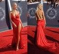 Sexy Backless Open Back Party Dresses V Neck Spaghetti Straps Side High Splits Red Chiffon Celebrity Dresses