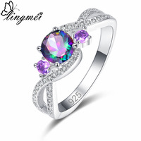 lingmei New Arrival Round Multicolor Purple & Green Pink White CZ Silver Color Ring Size 6 7 8 9 Popular Female Wedding Jewelry