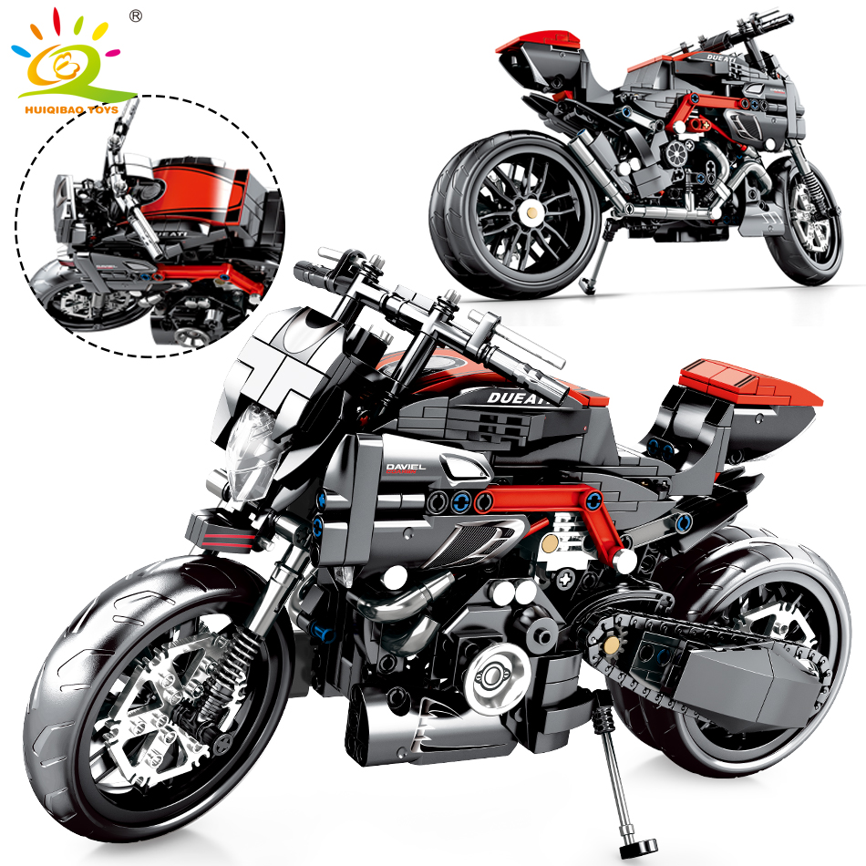 702pcs Technic Racing Motorcycle Building Blocks Compatible Speed Vehicle Bricks Educational DIY Toys For Children Boy