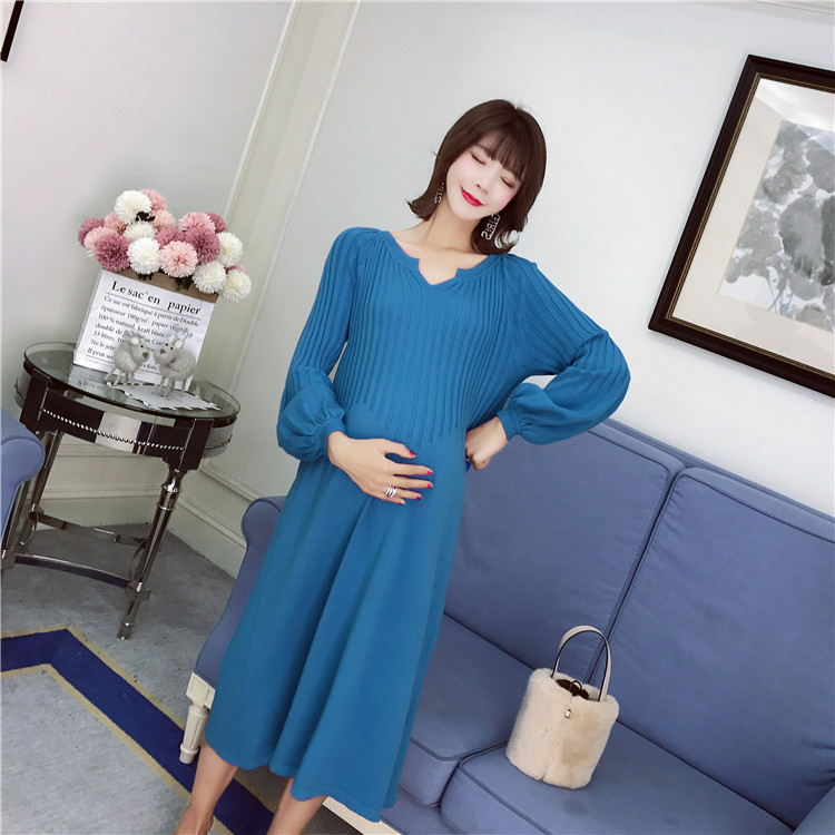 Fashion Elegant Winter Maternity Women Long Drress for Pregnant Women Sext V Neck High Waist Knitted Sweater Dresses Pullover high neck button embellished knitted sweater