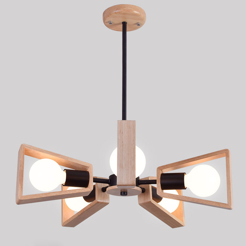 5 Lights Nordic Wooden Chandelier Lights Restaurant Bedroom Living Room E27 Modern White Black Metal Hanging Lamp Lighting PL618 chinese style classical wooden sheepskin pendant light living room lights bedroom lamp restaurant lamp restaurant lights