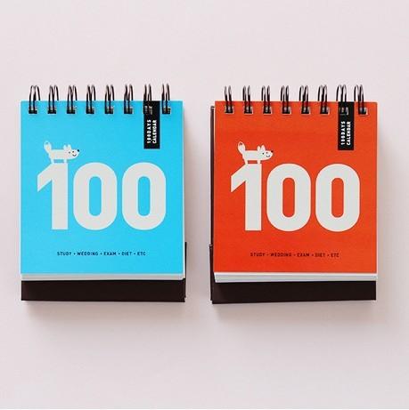 1 st ck new tischkalender papier spirale 100 tage. Black Bedroom Furniture Sets. Home Design Ideas