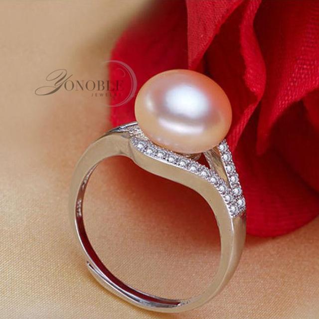 Perla naturale anelli di cerimonia nuziale Anelli per Le Donne anello regolabile 925 gioielli in argento d'acqua dolce Nero ragazza di fidanzamento Regalo Di Compleanno