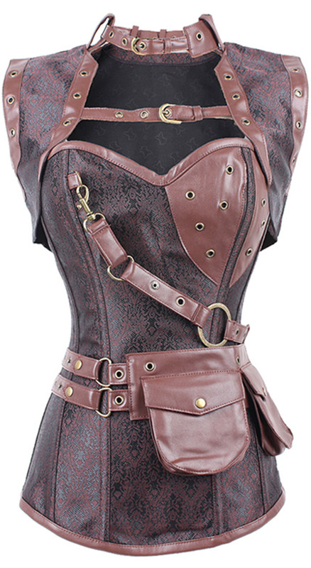 Новый сексуальный для женщин стимпанк корсет панк коричневый, черный искусственная кожа цветочный сталь костей Бюстье кружево до