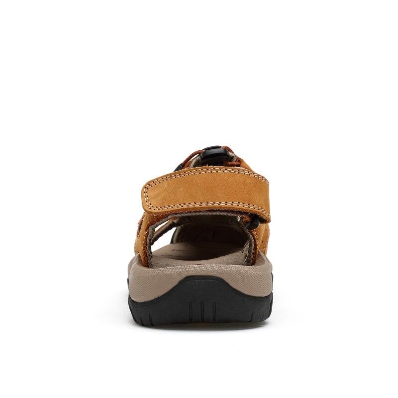 Woodtree Men Sandals Genuine Split Leather Men Beach Roman Sandals Brand Men Casual Shoes Flip Flops Men Slippers Sneakers Summe