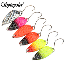 Bargain 20pcs 3.5g Wholesale Trout Bass Spinner Perch Bait Ultra Light Fishing Spoon Lures Micro Mini Metal Artificial Fake Bait