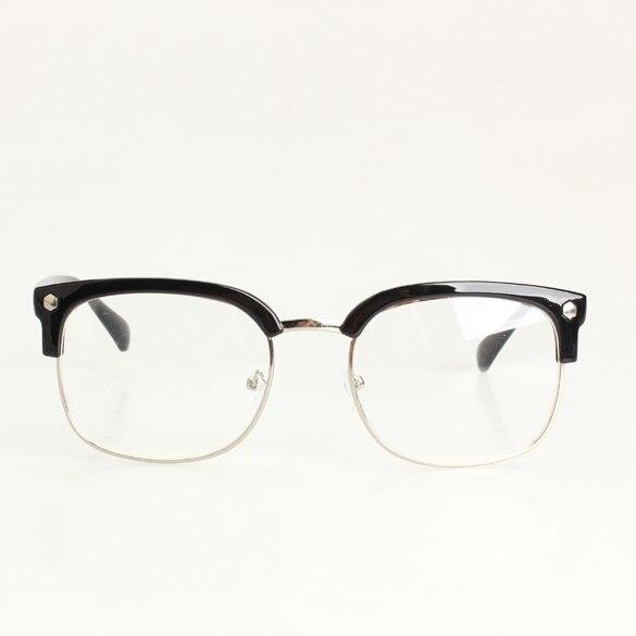 6d8d712400c79 Fashion New Unisex Plain Spectacles Nerd Glasses Brilliant Black Half Frame  Clear Lens
