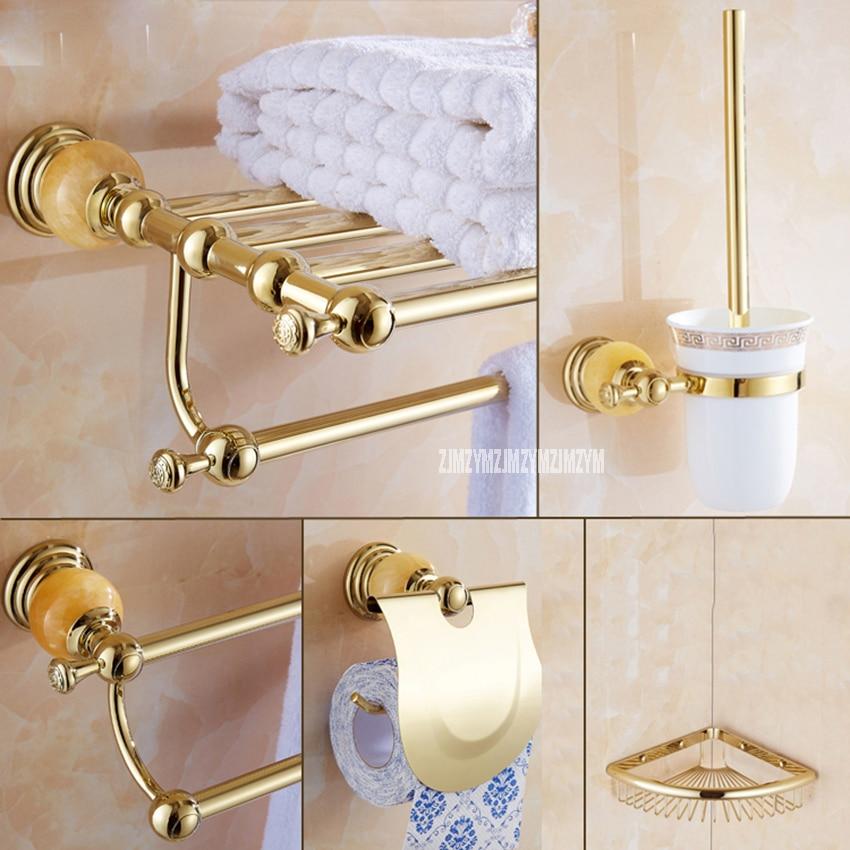 5 en 1 or polonais acier inoxydable mural bain salle de bain ensembles porte-serviettes stockage tissu étagère Towe Bar toilette brosse titulaire