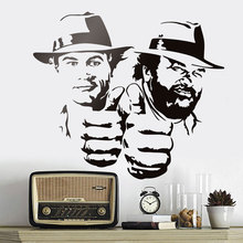 Bud Spencer And Terence Hill Wall Stickers Ridiculously Funny Character Portrait Vinyl Decal Classical Movie Figure Murals A426