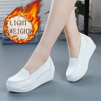 Nurse Shoes Non slip Lightweight Scrub Shoes Leather Workwear Slip ons Shoes Medical Shoes for Women