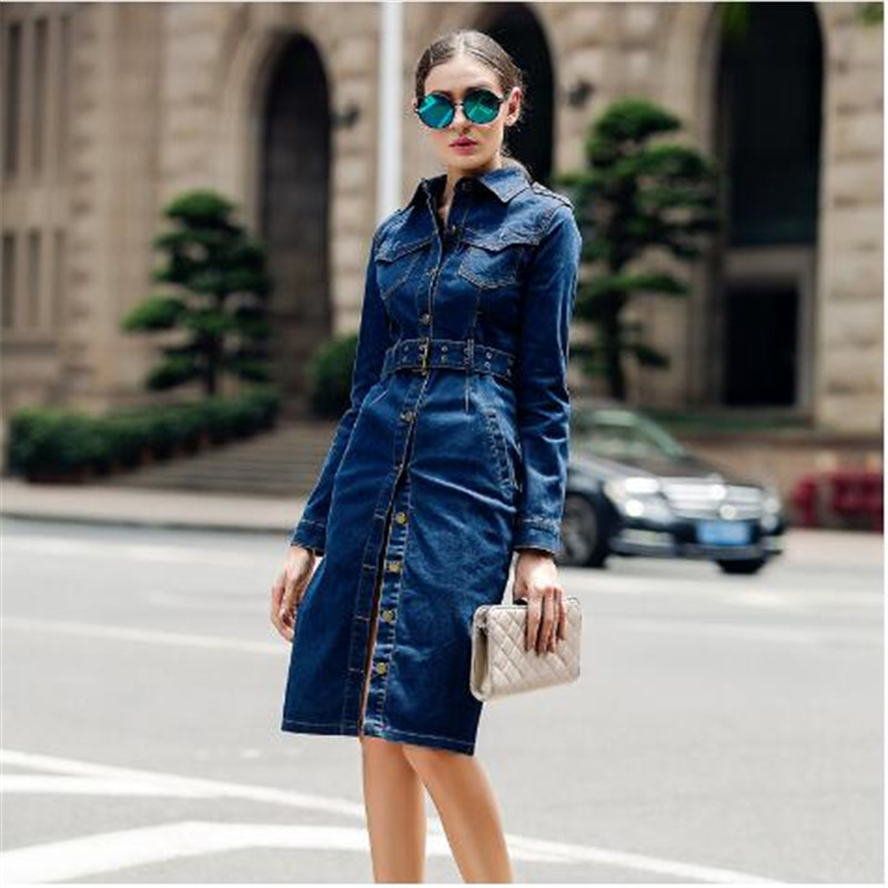Top Fashion Womens Casual Overcoat Cotton Long   Trench   Brand Female Denim Clothing Jeans Blue Color Single Breasted Coats 4XL