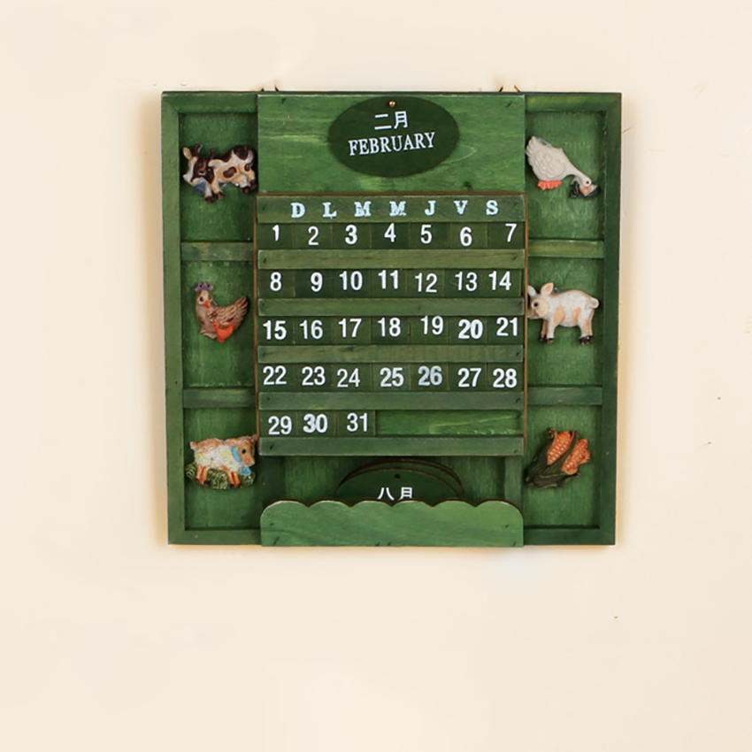2019 Vintage Wooden Calendar Home Living Room/Office/Shop Decor Ation Wall-mounted Perpetual Calendars Animals Forest Calendar