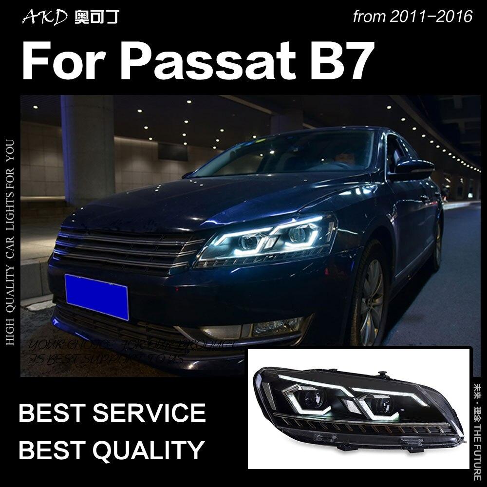 AKD Estilo Do Carro para VW Passat B7 Faróis 2011-2016 LED Farol Head Lamp DRL Hid Bi Xenon Projetor lente Feixe Acessórios