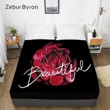 3D индивидуальная Кровать Простыня на резинке, натяжная простыня queen/King, black rose чехол для матраса, 200/150/160/180x200 простыней на кровать, Прямая поставка