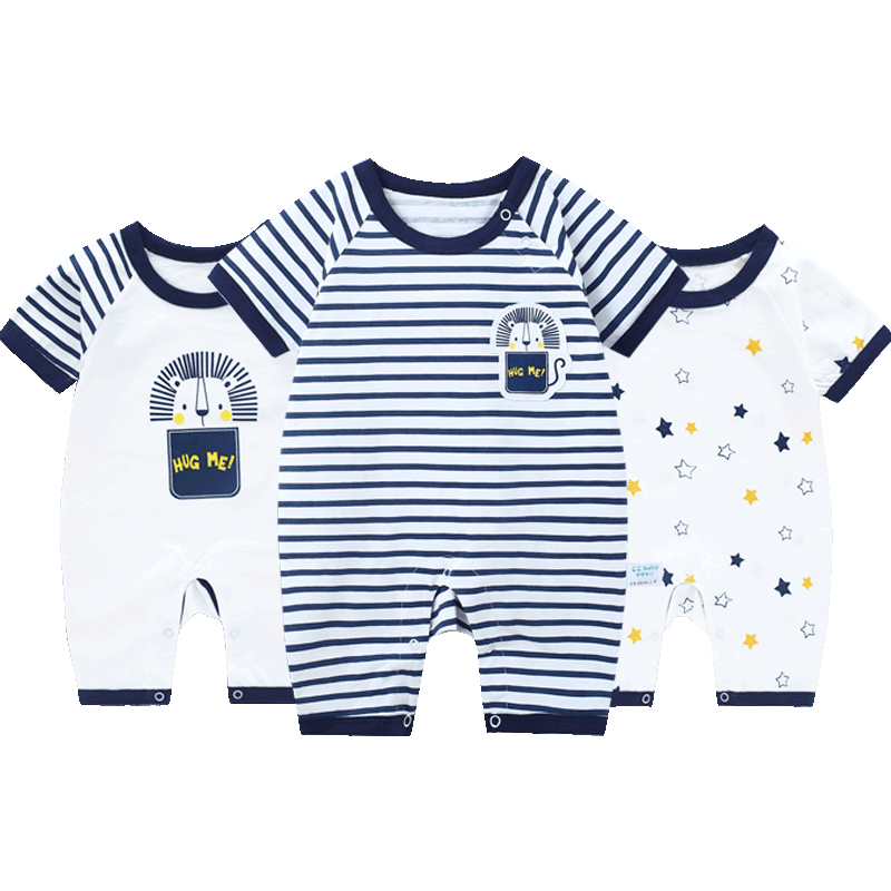 3pcs/lot Baby   Rompers   Summer Short Sleeve Baby Boy   Romper   Newborn Baby Clothes Girl   Romper   Baby Jumpsuit Thin Overalls Jumpsuits