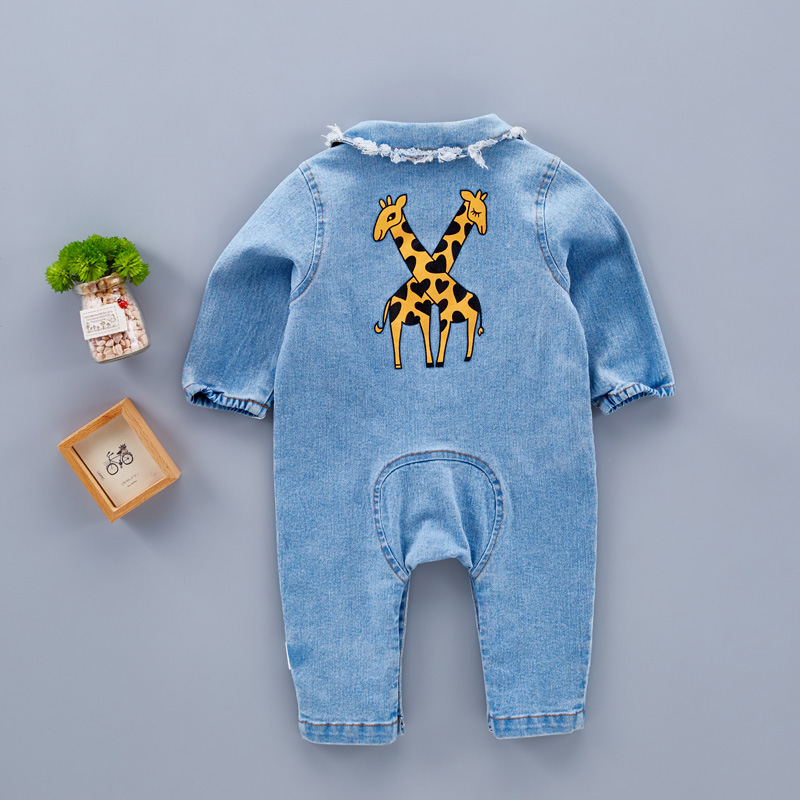 NNW 3M-24M Baby 2017 Spring Autumn Fashion Rainbow Printed Cowboy Clothes Small Children Climb Rompers Cool Boys And Girls Cloth