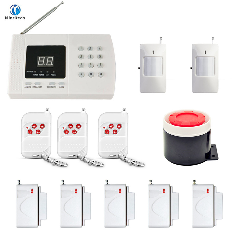 Minritech Home Security GSM Alarm System Wireless/Wired SMS Burglar Voice Alarm System Remote Control Set Arm/Disarm KIT wholesale price gsm home alarm system wireless gsm sms home scurity burglar voice alarm system remote control arn disarm
