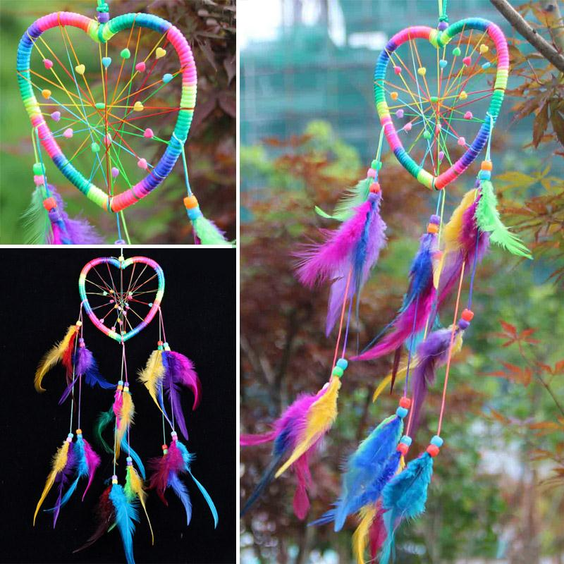 Handmade Rainbow Dream Catcher Dreamcatcher Peach Heart Car Door Wall Hanging Home Decoration YH 460908 in Wind Chimes Hanging Decorations from Home Garden