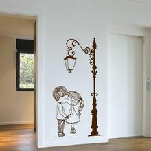 Wall Decal Vinyl Sicker Street Lamp Post Light with Two Lovely Cute Boy And Girl Couple Wall Art Mural Living Room Decor WW-232
