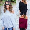 Kaywide 2016 mujeres del otoño tops serie hombro tops tees primavera camiseta de las mujeres de punto suéter delgado a16408
