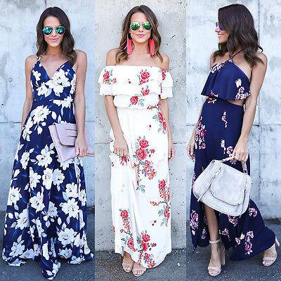 d9b79166c05 Women Summer Vintage Boho Long Maxi Evening Party Beach Dress Floral  Sundress women halter beach dress vestidos plus size 2XL
