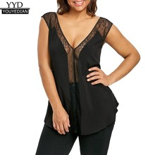 (Ship from US) Plus Size 5XL Summer 2018 Tank Top Womens Sexy Tunic Lace  Patchwork Sleeveless Tops Sexy Transparent V Neck Ladies Clothes Women aceefdff87f2