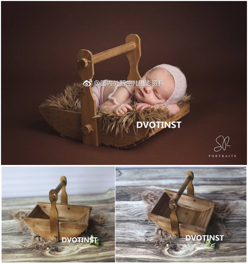 Dvotinst Newborn Baby Photography Props Wooden Hanging Tub Basket Baby Photo Props Shooting Fotografia Accessory Infant Studio dvotinst baby photography props flowers hanging basket decoration fotografia accessories infant toddler studio shooting photo