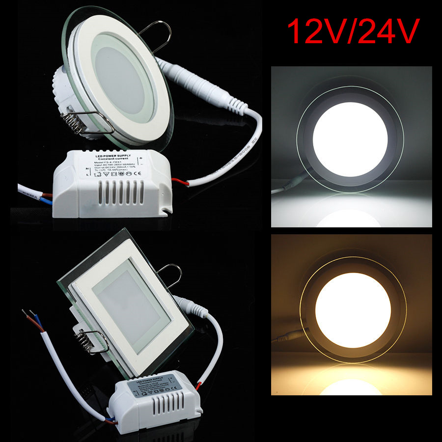 AC/DC 12V 24V Led Panel 6W 9W 12W 18W 24W Led Lighting Recessed Glass Downlight Round/square Panel Light Free Shipping