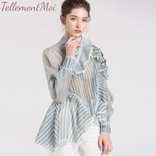 Autumn Casual Women Tops And Blouses Stand Collar Long Sleeve Loose Slim Button Female Striped Blouse Shirt 2019 недорого