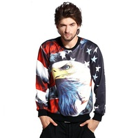 Eagle Sweatshirts Men American Flag Printed 2016 New Fashion Mens Crewneck Pullovers 3D Printe Sweatshirt Free