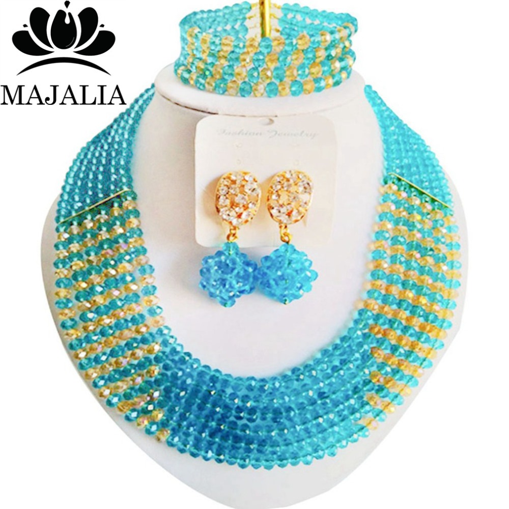 Majalia Fashion Lake blue and Gold champagne Nigerian Wedding African Jewelry Set Crystal Necklace Bride Jewelry Sets 6CF012