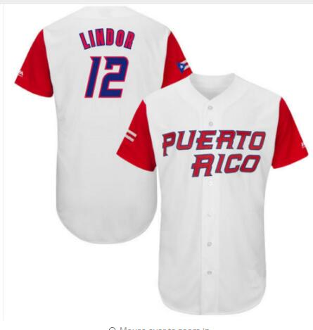 PUERTO RICO Baseball Jersey #12 Francisco Lindor 2017 World Baseball Classic Throwback Baseball Jersey S-3XL Free Shipping