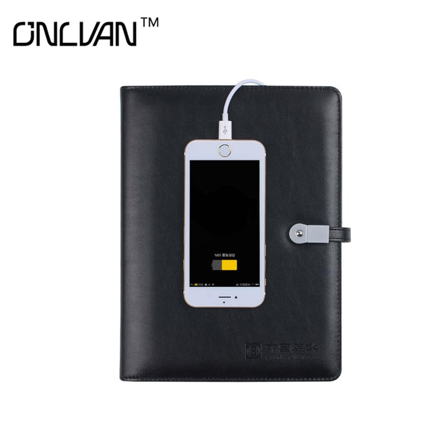 PU Leather Notebook with 6000mAh Power Bank Business Travelers' Notebook with 8G USB Dairy book Office Supply  Chancery Supplies dairy supply chain management