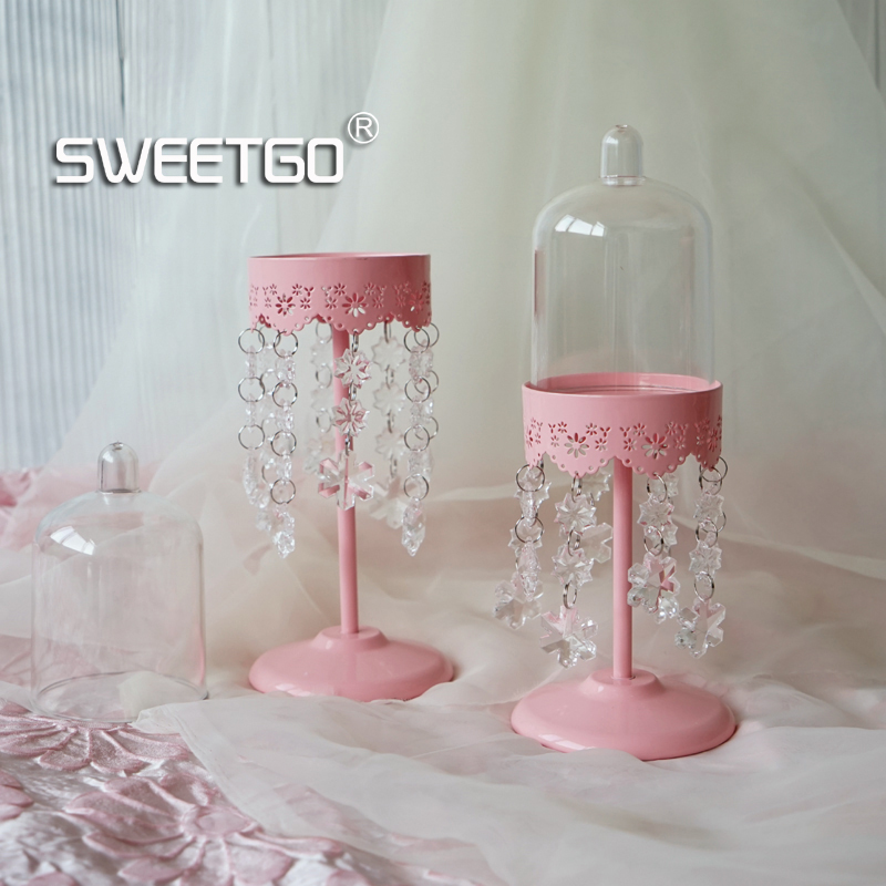 Crystal pendants cupcake stand high feet dessert holder PC dome for cupcake tools dessert table Windproof candlestick
