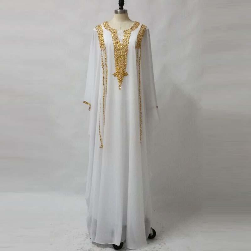White And Gold Prom   Dresses   2018 Arabic Muslim Long Sleeve   Evening     Dresses   Plus Size Fancy Dubai Kaftan   Dress   Robe de soiree
