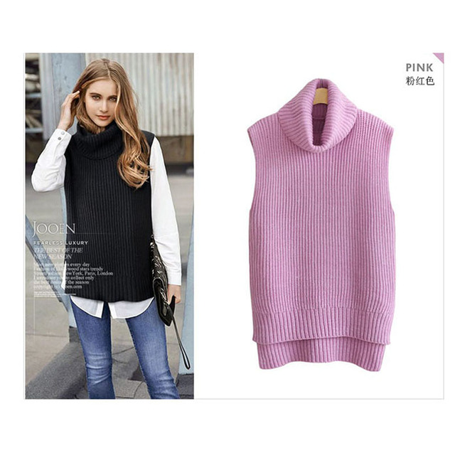 US $38.67 39% OFF|2018 Women Turtleneck Sweaters Winter Sleeveless Knitted Vest Gilet Spring Autumn Thicken Wool Cashmere Sweater Female