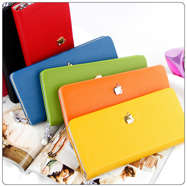 Free shipping wholesale and retail  Apple Piaoga PU Fashion Classic Wallet Card Package Hot sale Ladie's Purse