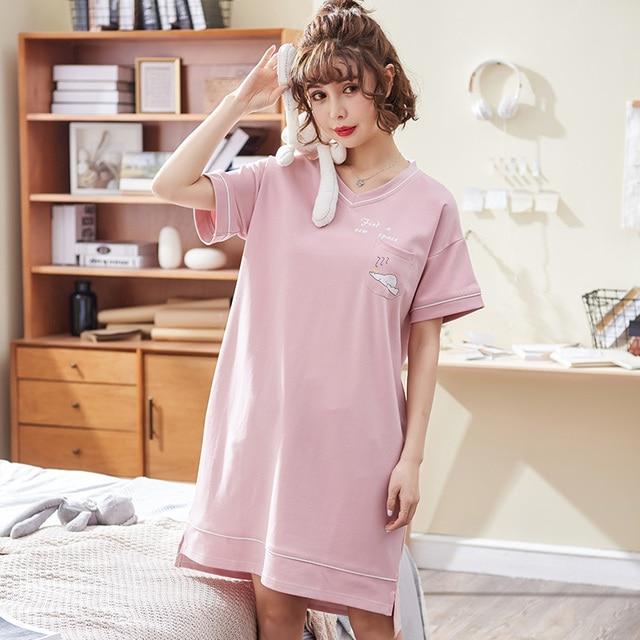 New brand women nightgown cotton sleepshirt cute sleep clothing short  sleeved sleepwear female pyjamas girls nightwear summer 6a8986ded