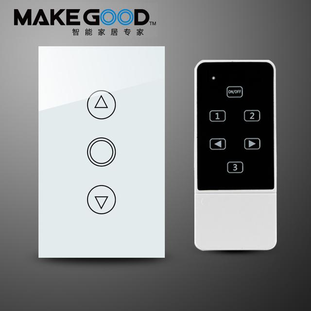 EE.UU. Estándar Touch Dimmer Luz de Interruptor de pared control remoto, Panel de Cristal con luz de fondo LED azul 433 MHZ compatibilidad rm pro