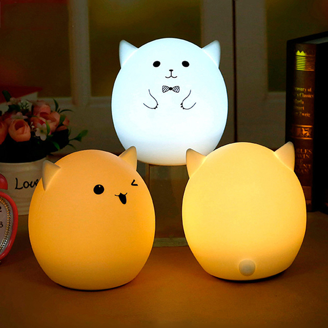 Creative 7 Colors Change Silicone Cute Gift Nightlight Child LED Night Light Atmosphere Lamp Nightlights For Baby Kids Children