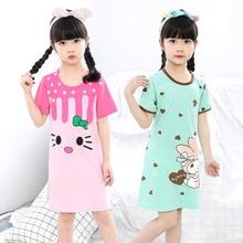 Новая летняя детская одежда для сна, хлопковое платье с короткими рукавами для девочек, пижамы, одежда для сна для девочек, ночные рубашки большого размера