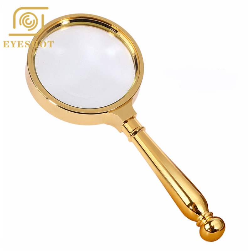 High Quality HD Handheld Reading Hand Magnifier 5X Magnification Lupa Optical Lenses Bronze Metal Magnifying Glass in Magnifiers from Tools