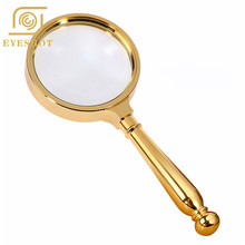 High Quality HD Handheld Reading Hand Magnifier 5X Magnification Lupa Optical Lenses Bronze Metal Magnifying Glass